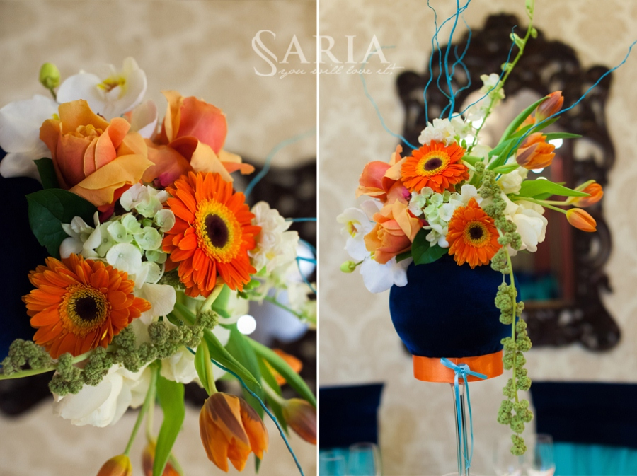 10 aranjamente florale albastru-orange-saria